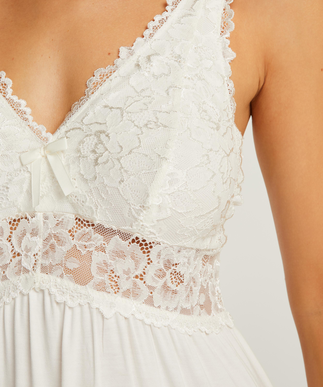 Slipdress Modal lace, Wit, main