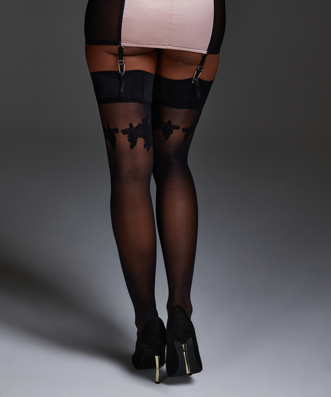 Stocking Noir satin top, Zwart, main