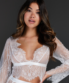 Top Allover Lace, Wit
