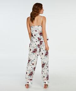 Pyjamabroek woven floral, Wit