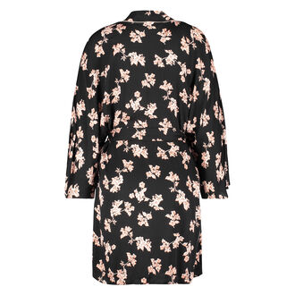 Kimono woven blossom, Zwart