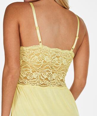 Slipdress Jersey lace, Geel