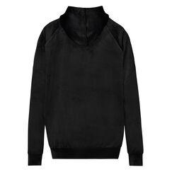 Pyjama top lange mouwen velours, Zwart