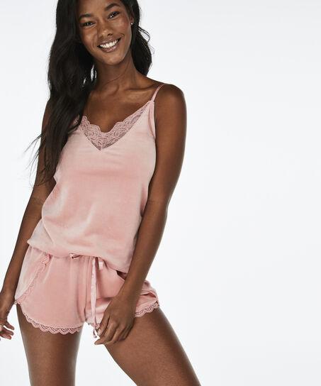 Pyjama short velours, Roze