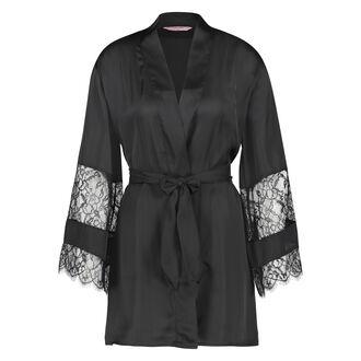 Kimono Lace Satin, Zwart