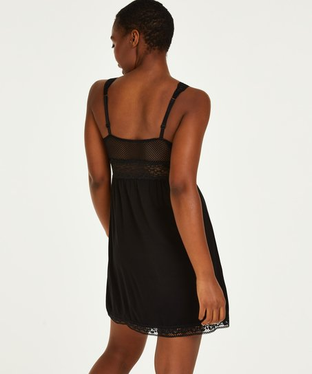 Slipdress Jersey Grafic Lace, Zwart