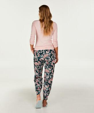 Pyjama top lange mouwen rib, Roze