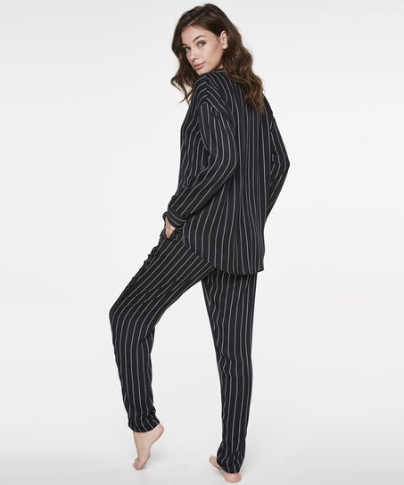 Pyjamatop Woven Striped, Zwart
