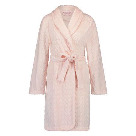 Korte fleece badjas leaves, Roze