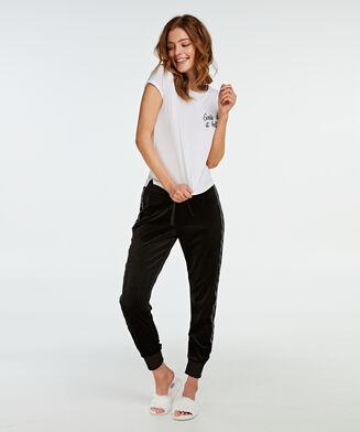 Pyjama top korte mouwen jersey, Wit