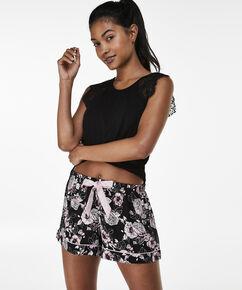 Pyjama short Woven, Zwart