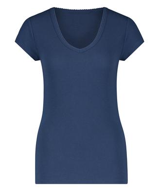 Pyjama top korte mouwen rib, Blauw