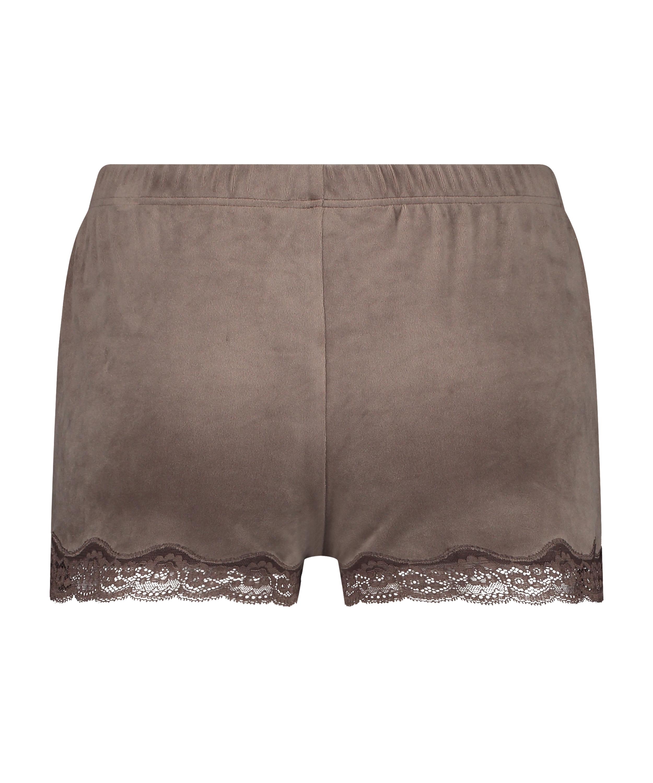 Shorts Velours Lace, Bruin, main