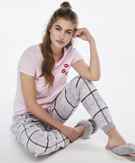 Korte mouwen pyjamatop, Roze