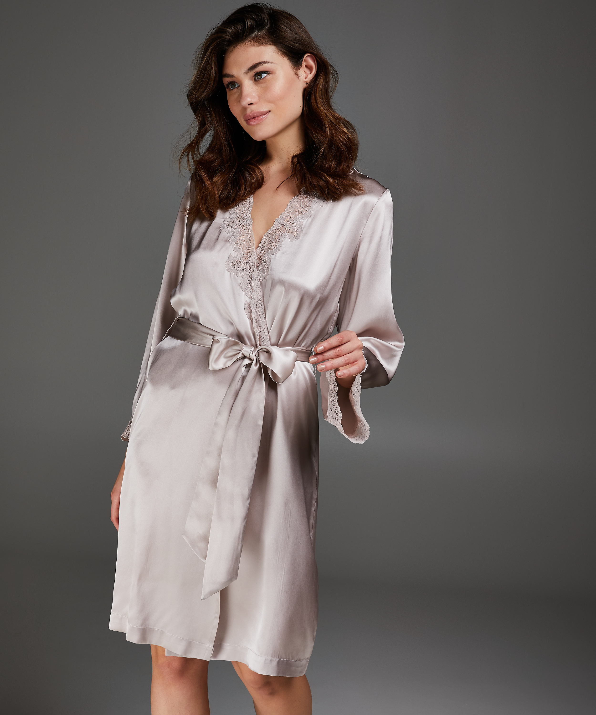 Kimono zijde lace trim, Roze, main