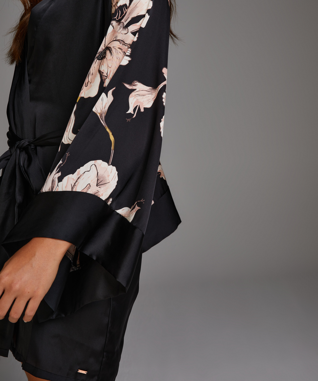 Kimono Satijn Bloom, Zwart, main