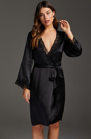 Hunkemöller Kimono zijde lace trim Zwart