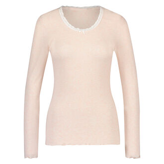 Top LS Rib R neck, Roze