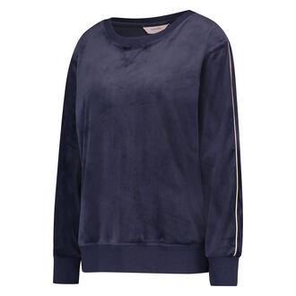 Pyjama top lange mouwen velours, Blauw