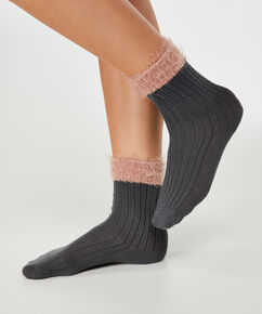 1 paar fluffy sokken, Grijs
