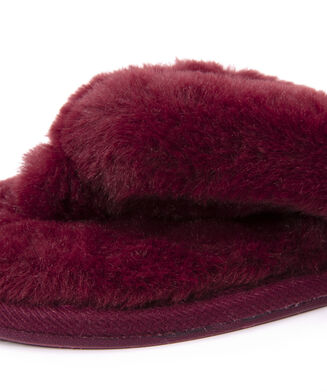 Slippers Fake Fur, Rood