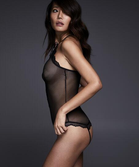 Body Lace-up Bianca, Zwart