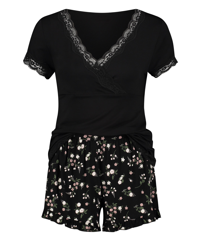 Zwangerschapspyjamaset Ditzy Flower, Zwart, main
