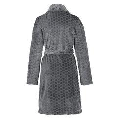 Badjas zip fleece honeycomb, Grijs