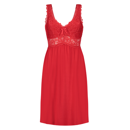 Slipdress Modal lace, Rood