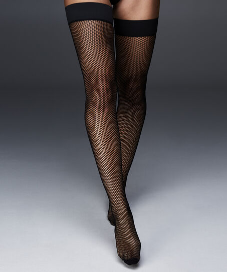 Stay-up Private Fishnet Open Back, Zwart