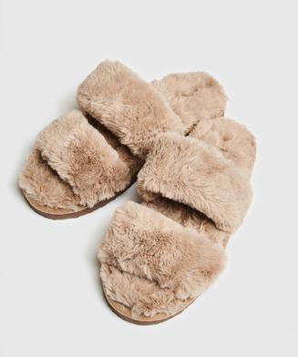 Slippers Fake Fur, Bruin
