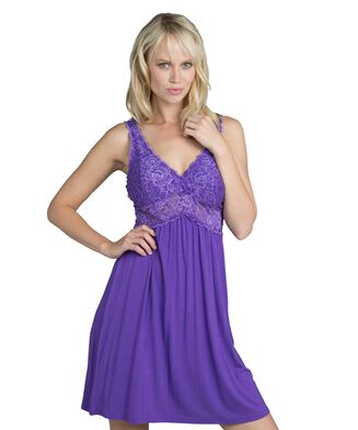 Slipdress Modal lace, Paars