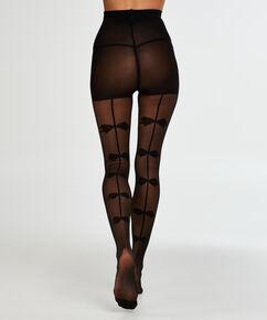 Panty 30 Denier Bow, Zwart