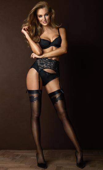 Stocking Noir satin top, Zwart
