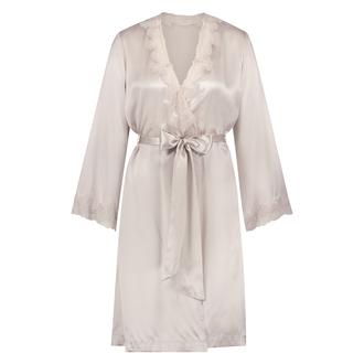 Kimono zijde lace trim, Roze