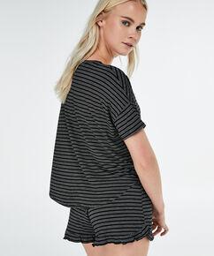 Pyjama top korte mouwen loose fit, Zwart