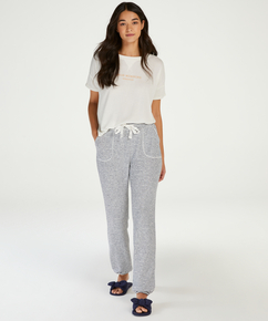 Pyjamatop korte mouwen Brushed Jersey, Wit