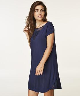 Korte mouwen nachthemd Mesh Lace, Blauw
