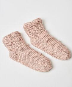 Slof sokken pom pom, Roze