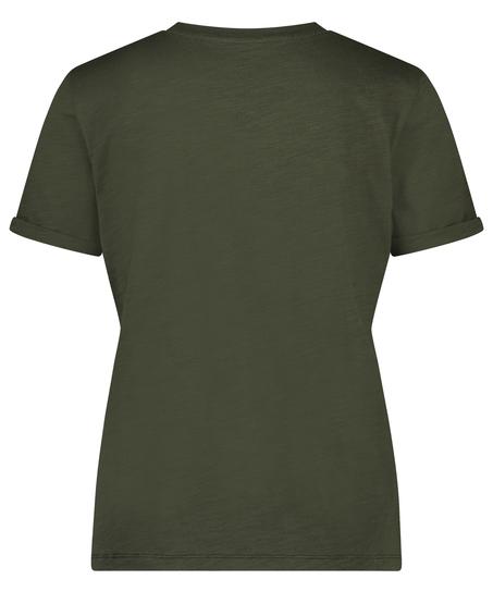 Pyjamatop korte mouwen ronde hals, Groen