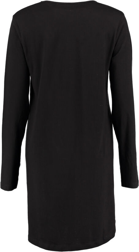 Nachthemd V-hals longsleeve, Zwart