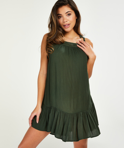Mini jurk gevlochtend schouderbandjes, Groen