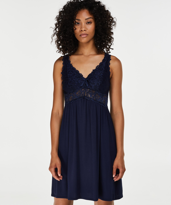 Slipdress Modal lace, Blauw, main