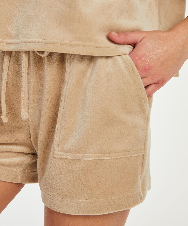 Shorts Velours Pocket, Beige, main