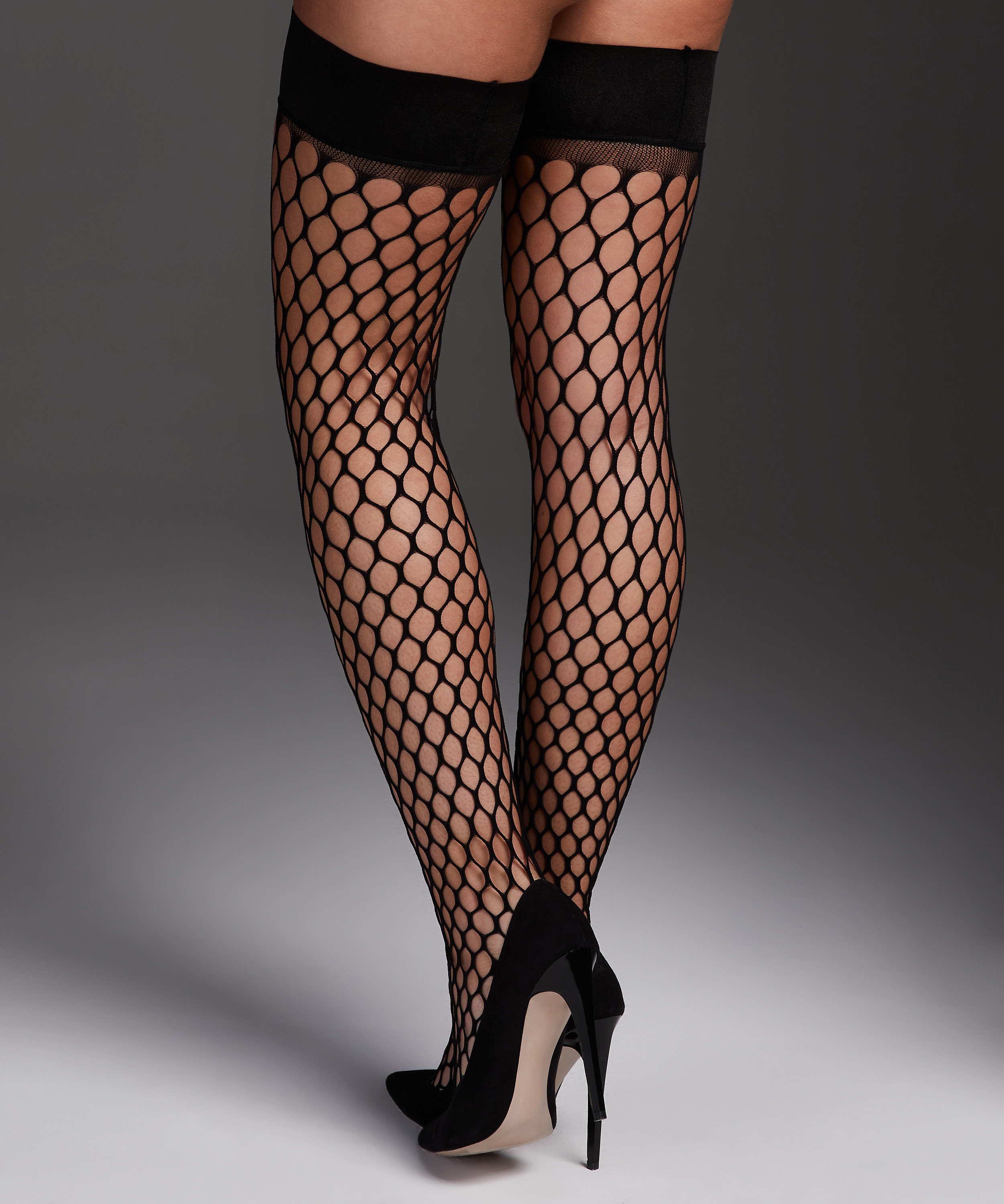 Private Stay-up Fishnet Big Sexy, Zwart, main