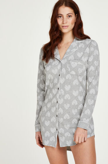 Hunkemoller Pyjamatop Heart Grijs