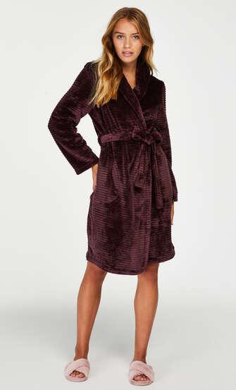 Korte badjas Fleece rib, Rood