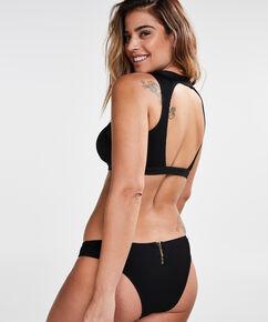 Bikini Croptop Victory Zip, Zwart