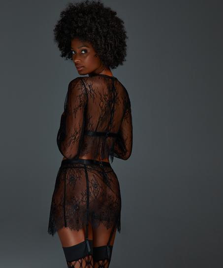 Top Allover Lace, Zwart