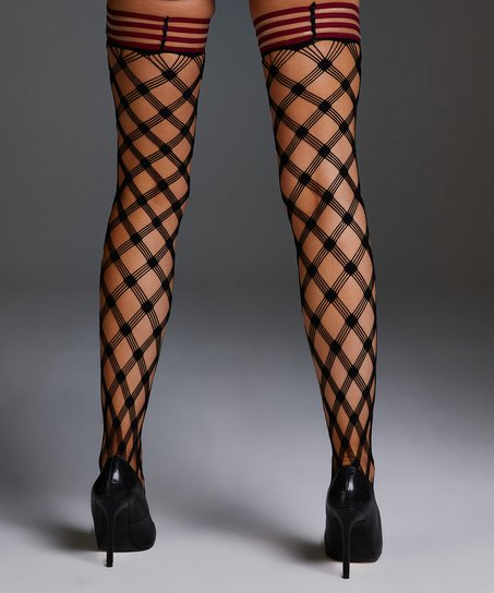 Stay-up Private Fishnet Crystal, Rood